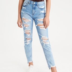 American Eagle High Rise Destroyed Mom Jeans